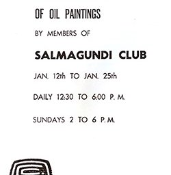 1963 annual exhibition of oil paintings by members of Salmagundi Club : Jan 12th to Jan 25th.
