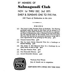 1971 Fall exhibition of oil paintings by members of Salmagundi Club by Salmagundi Club New York NY.