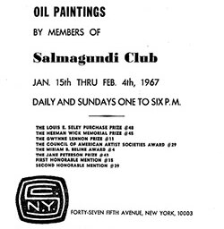 1967 Annual exhibition of oil paintings by members of Salmagundi Club by Salmagundi Club New York NY.